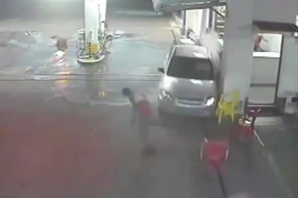 Crazy Gas Station Car Accident