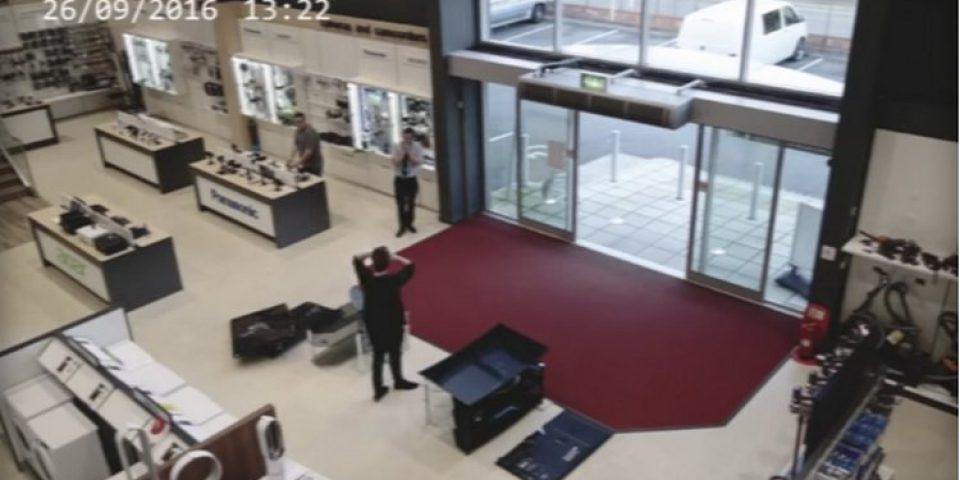 Customer knocks down 4 TVs