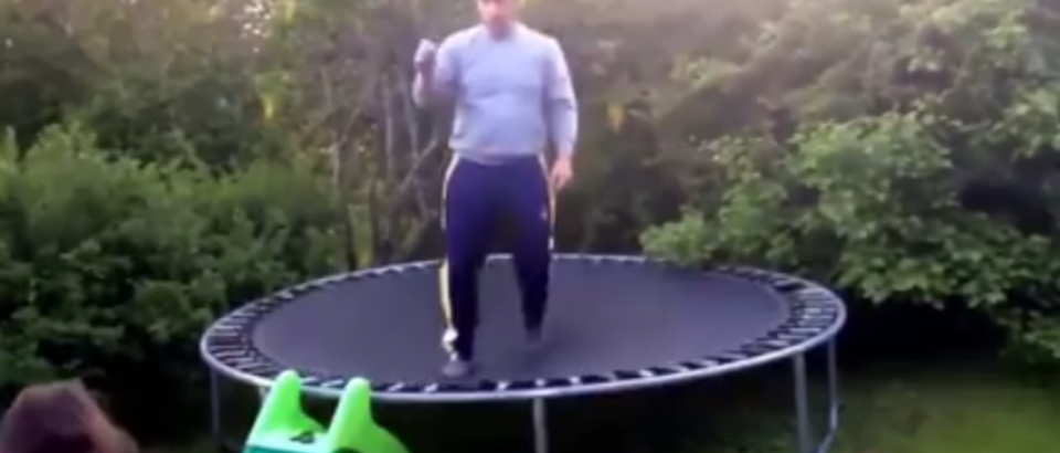 Funny Accident on a Trampoline